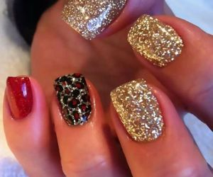 nails, red, and gold image