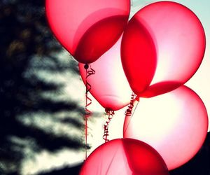 balloons, pink, and nature image