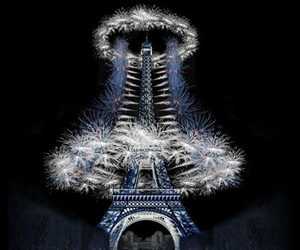 eiffeltower, fireworks, and france image