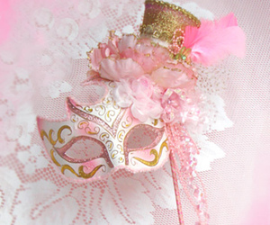 pink, mask, and flowers image