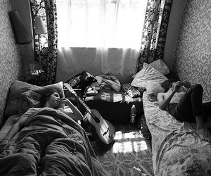 room and white & black image