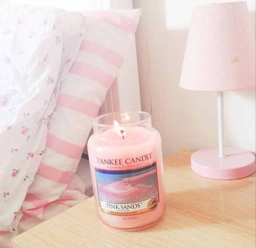 bedroom, candle, and pink image