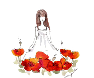 girl, poppies, and illustration image