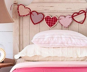 bedroom, heart, and bed image