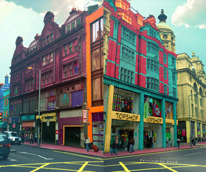 topshop, building, and colorful image