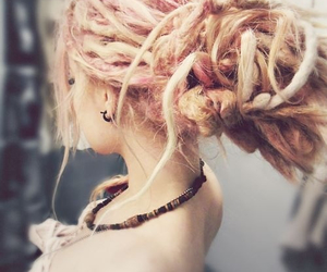 dreads, hair, and pink image