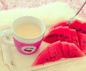 watermelon, food, and pink image