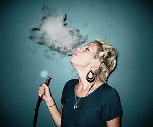 blonde, girl, and smoke image