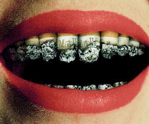 cigarette, lips, and smoke image