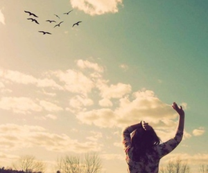 girl, free, and birds image