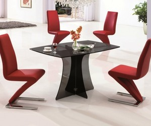 dining room, unique design, and rectangular table image