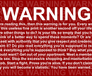 warning, fight club, and quote image