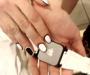 apple, black and white, and fashion image