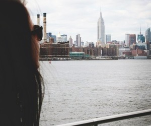 city, girl, and town image