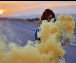 girl, yellow, and smoke image