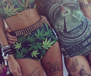 weed, tattoo, and swag image