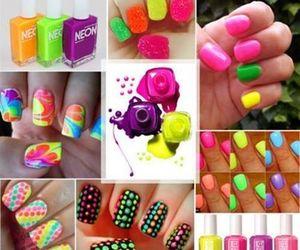 nails, neon, and nail art image
