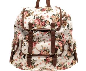 bag, floral, and backpack image
