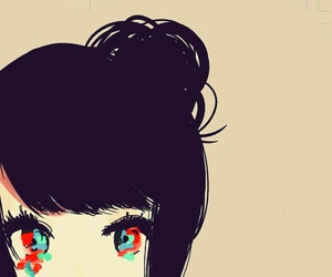 anime girl, colorful, and eyes image