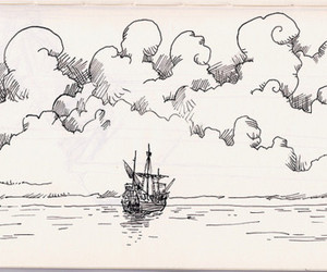 drawing, ship, and ocean image