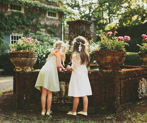 girl, child, and flowers image