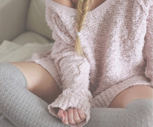 pink, sweater, and style image