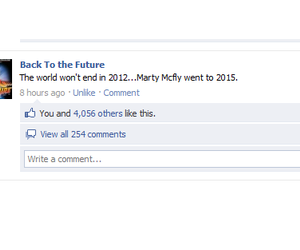 Back to the Future and facebook image