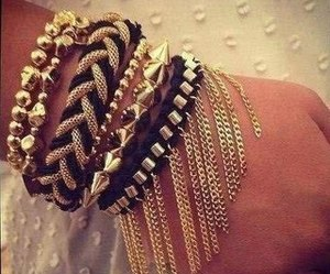 bracelet, gold, and black image