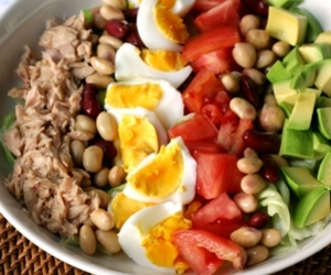 avocado, beans, and egg image