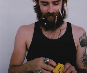 beard, cigarette, and boy image