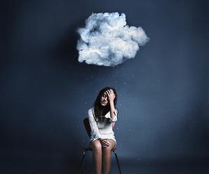 girl, clouds, and rain image