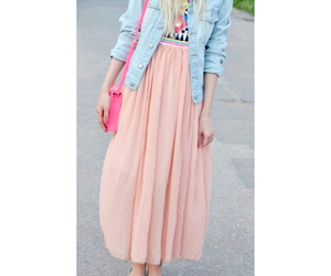 blonde, maxi skirt, and blue image