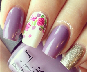 nails, rose, and nail art image