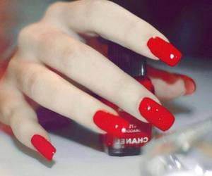 red, long nials, and rouge image
