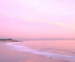 pink, beach, and waves image