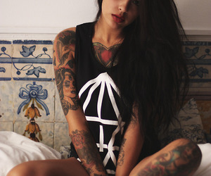 hair, tatto, and girl image