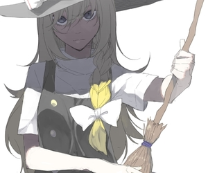 blonde hair, broomstick, and hat image