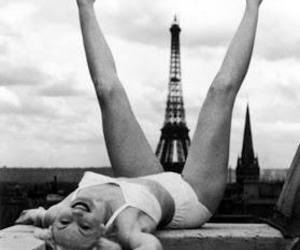 paris, black and white, and Marilyn Monroe image