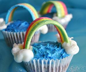 rainbow, cupcake, and food image