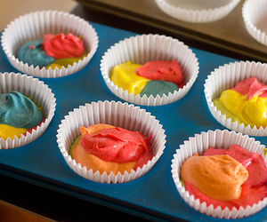 colorful and cupcake batter image