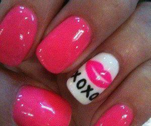 nails, pink, and xoxo image