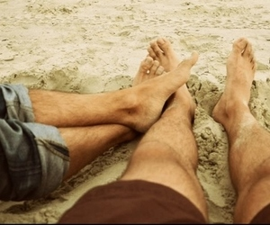 beach, couple, and male couple image