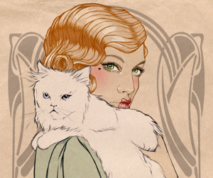 Art Nouveau, blonde, and girl image