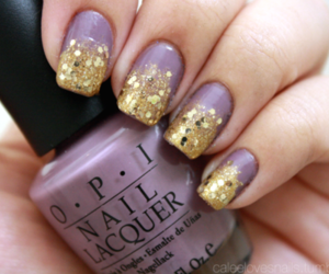nails, purple, and gold image