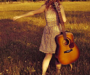 dress, flower, and guitar image