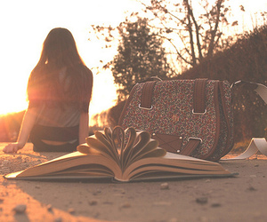 girl, book, and bag image