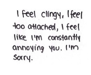 sorry, love, and clingy image