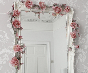 mirror, rose, and flowers image