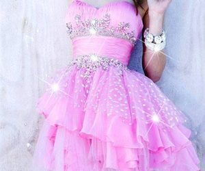pink, dress, and girly image