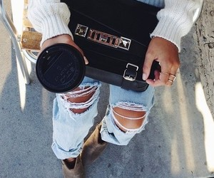 fashion, jeans, and coffee image